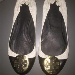 Tory Burch Reva flats shoes Sz 10 black white